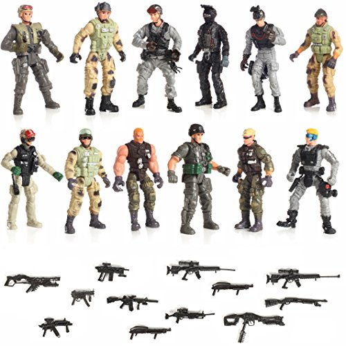 "12 Piece Set Special Forces With Weapons 6"" Action Figures"