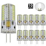Dayker 4W G4 Base 64 LED SMD3014 LED Lamp Bulb AC/DC 12V G4 Bi Pin Daylight LED Corn Bulb 35W Halogen Replacement(10 Pack)