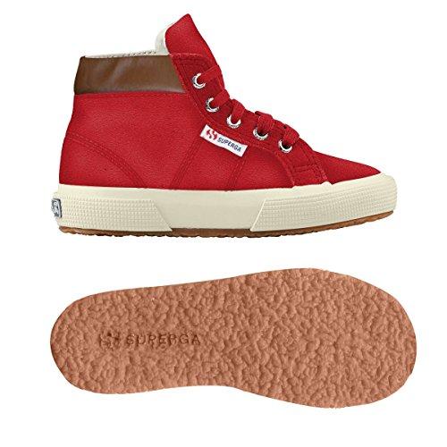 Superga 2204 - Suej - Zapatillas de cuero para niño Red Papavero