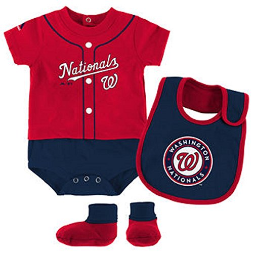 Washington Nationals Majestic Newborn & Infant Tiny Player Bib, Boodie & Bodysuit Set - Red (6/9 Months)