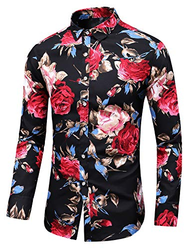 Men's Slim fit Printed Long-Sleeve Button-Down Dress Floral Shirt (Medium Chest: 41.7 inch, Black red)