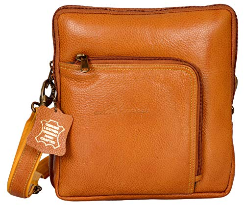 Western Leather Women's Crossbody Bag Genuine Grained Leather Bag with Long Strap ()