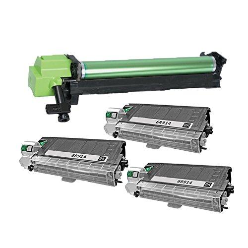 (3 Pcs) 100% Brand NEW Compatible Copier Toner Cartridge Xerox 6r914 (6,000 Pages) + (1 Pc) 100% Brand New Compatible Copier Drum Unit Xerox 13r551 (20,000 Pages) for Workcentre ()