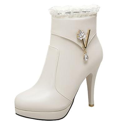 YE Bottines Strass Femme Bottes Dentelle Femme Plateforme à Talons Hauts  Aiguilles Lacé Chaussure Ankle Boots Strass Courtes Chaude Zip Hiver   Amazon.fr  ... ebf949479792
