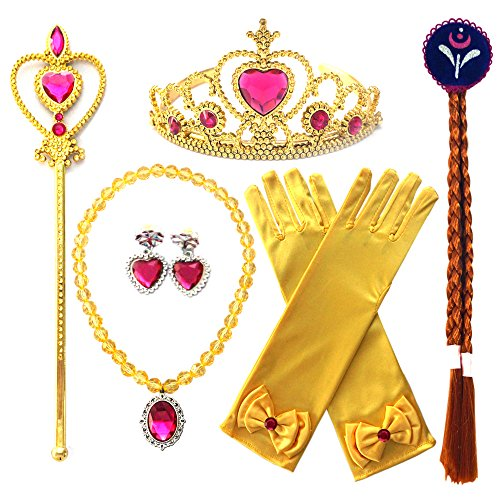 Kuzhi Frozen Princess Elsa Dress up Party Accessories 6 Pcs Holiday Gift Set - Gloves, Tiara, Wand, Necklace, Wig & Earrings (Gold) -
