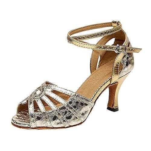 Women/'s Ballroom Tango Latin Dancing Shoes Sequins Shoes Open Toe Dress Sandals
