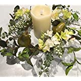 Sir Bartlett Floral Wreath Candle Ring Artificial Green Pears Silk Hydrangea Seasonal Decor Spring Summer Fall Indoor Decorating