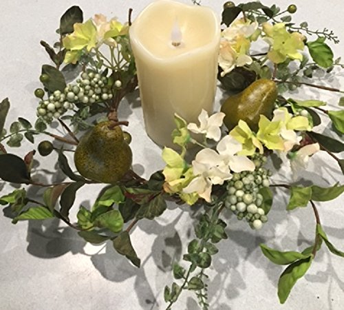 Sir Bartlett Floral Wreath Candle Ring Artificial Green Pears Silk Hydrangea Seasonal Decor Spring Summer Fall Indoor - Candle Ring Hydrangea