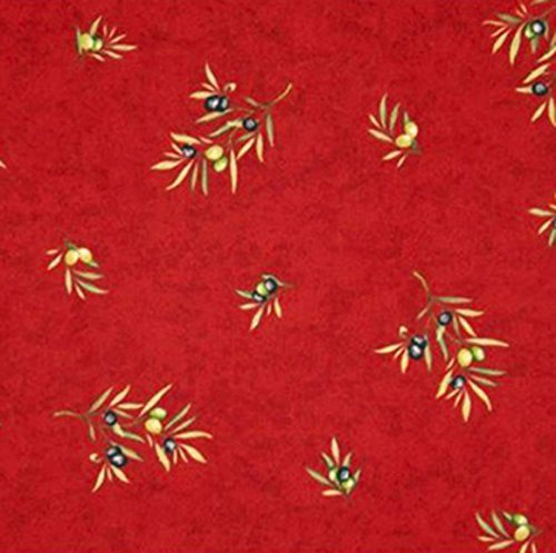 Square 60 x 60 inch Stain Resistant Coated Tablecloth Olives Bouquet in Red - Indoor and Outdoor Use - Easy Care Cotton Acrylic French Provence Fabric - Water and Stain Resistant -