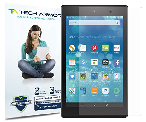 Tech Armor Anti-Glare Matte Film Screen Protector for Amazon Kindle Fire HD 8