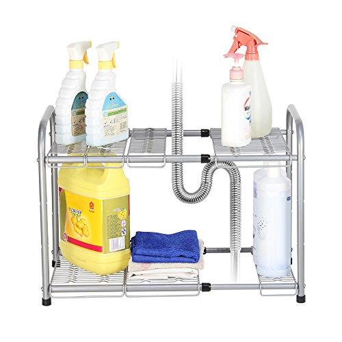 NEX 2-Tier Under Sink Shelf Organizer Under Sink Storage Rack with Flexible & Expandable 15'' to 27''for Kitchen Bathroom Cabinets