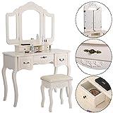 Polar Aurora Set 5 Tri Folding Vintage White Vanity Makeup Dressing Table Drawers &stool