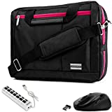 VanGoddy 3-in-1 Magenta Trim Hybrid Laptop Bag w/Mouse and USB HUB for Lenovo Flex/ThinkPad / IdeaPad/Legion / Yoga 14'-15.6in