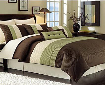 Amazon Com 7 Piece King Sage Green Beige Brown Bed In A Bag Pin