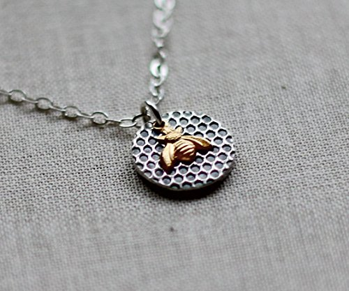 Tiny Bee Necklace with Honeycomb - 18