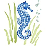 """Stencils for Walls - Seahorse Stencil (size 7.5""""w x 8.5""""h) Reusable Sea Ocean Nautical Seashore Reef Stencils for Painting - Use on Paper Projects Walls Floors Fabric Furniture Glass Wood etc."""