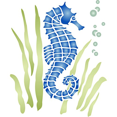 Seahorse Stencil (size 4.5''w x 5''h) Reusable Sea Ocean Nautical Seashore Reef Stencils for Painting - Use on Paper Projects Walls Floors Fabric Furniture Glass Wood etc. by Stencils for Walls