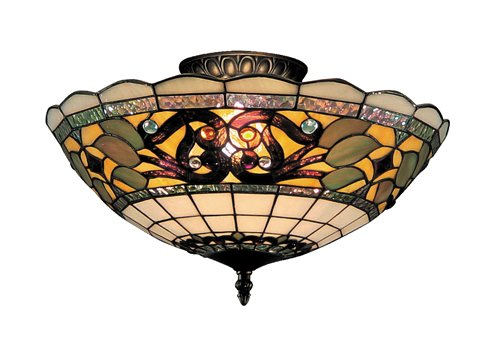 Elk 941-Tb Tiffany Buckingham 3-Light Semi-Flush Mount, 8-Inch, Vintage Antique With White Tiffany Style Glass Buckingham Ceiling Lighting