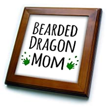 ft_154045_1 InspirationzStore Pet designs - Bearded Dragon Mom - for female lizard and reptile enthusiasts and girl pet owners Green footprints - Framed Tiles - 8x8 Framed Tile