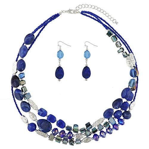 Glass Bead Blue Multi - COIRIS 3 Multi Layer Shell Glass Beaded Fashion Necklace for Women 21