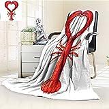 AmaPark Digital Printing Blanket Sea A Boiled Lobster Shaped as A Heart Symbol Dinner Seafood Restaurant Menu Art Red Summer Quilt Comforter