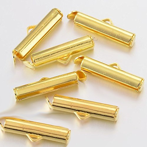 Slide Box Clasp (20 Brass Slide On Clasp Tube Jewelry Findings Golden Color 19.5x4mm Loom Jewelry Making)
