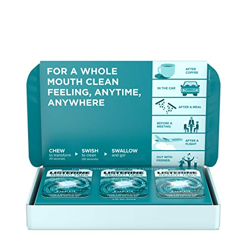 (Listerine Ready! Tabs Chewable Tablets with Clean Mint Flavor, Revolutionary 4-Hour Fresh Breath Tablets to Help Fight Bad Breath On-the-Go, Sugar-Free, Alcohol-Free & Kosher, 56 ct)