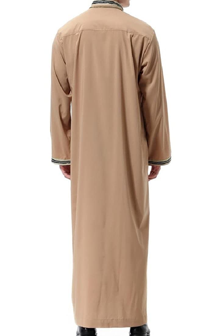 Winwinus Men Muslim Dress Islamic Printed Stand-up Collar Western Shirt