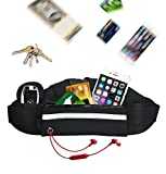 Yiiyaa Adjustable Running Belt Fanny Pack with Reflective Strip for Men and Women Fit Cellphone Key Sport Waist Bag Belt for Hiking Cycling Travel Gym-Black