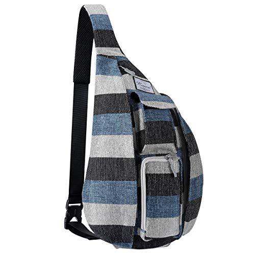 (KAMO Sling Backpack - Travel Rope Bag Crossbody Pack for Women Men Teens - Waterproof Outdoor Shoulder Backpack for Trekking Bicycle Sport Hiking Camping)