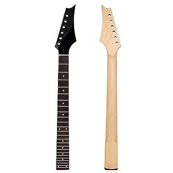 Kmise negro mate 24 trastes para guitarra eléctrica Cuello Plaza talón Diapasón de madera de palisandro: Amazon.es: Instrumentos musicales