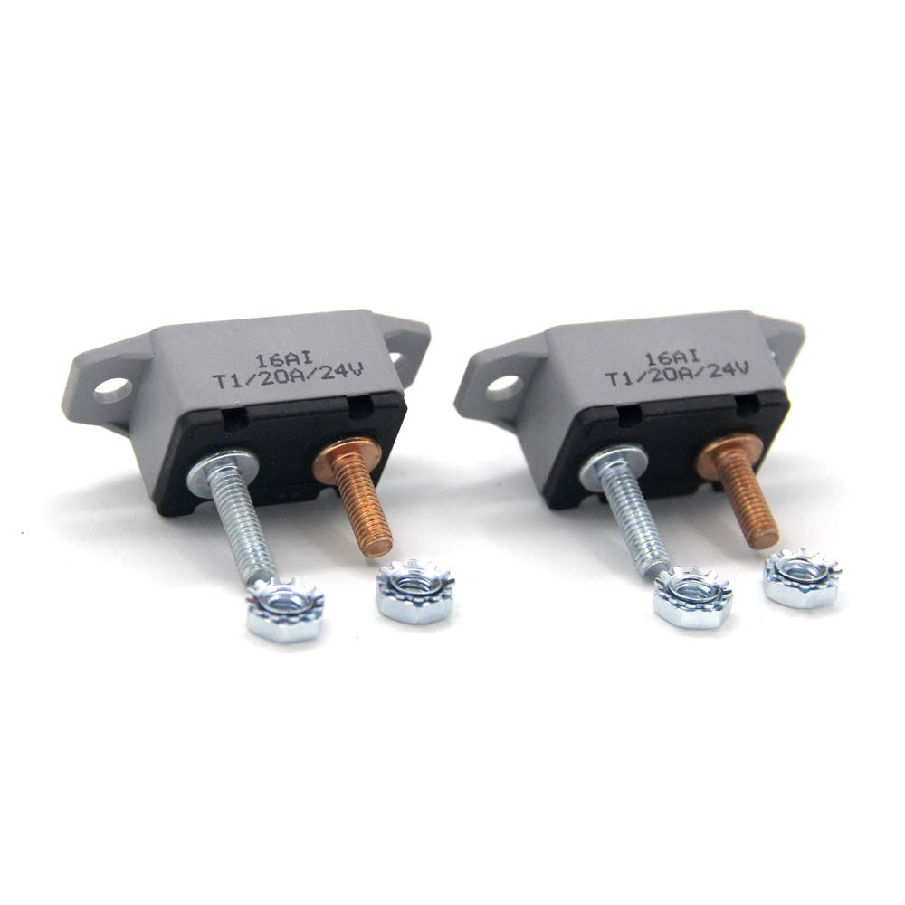 ZOOKOTO 2pcs 12-24V 20 Amp ATV AUTO Resettable Circuit Breaker Fuse holder 20A
