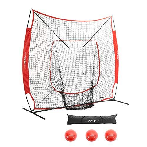Pinty Baseball Softball Practice Net 7×7 Hitting Batting Net w/Strick Zone Target + Baseball Softball Batting Tee + Ball Caddy + Weighted Training Balls (Net + 3 Balls)
