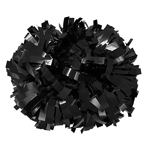ICObuty Metalic Cheerleader Cheerleading Pom pom 6 inch 1 Pair/2 Pieces - Metallic Pom Poms Black