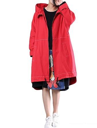 Vogstyle Abrigo con Capucha y Cremallera de Manga Larga Casual de Mujer Rojo: Amazon.es: Ropa y accesorios