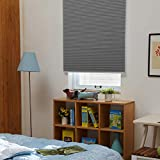 """SBARTAR Cellular Blinds Cordless Blackout Honeycomb Shades Fabric Window Blinds 34"""" W x 64"""" H, Cool Silver(Blackout)"""