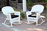 Jeco W00206R-B_2-FS017 Rocker Wicker Chair with Black Cushion, Set of 2, White For Sale