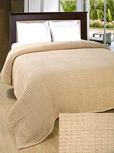 Bedroom Farmhouse Cotton Thermal Blanket in Waffle weave90x90Full Queen LinenBeige,Snuggle Super Soft Blanket,Breathable Cozy… farmhouse blankets and throws
