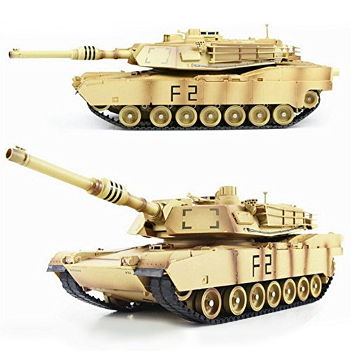 LOHOME 1/24 Scale Remote Control Tank - 2.4Ghz US M1A2 Abrams RC Air Soft RC Battle Tank Smoke & Sound for Christmas Gift