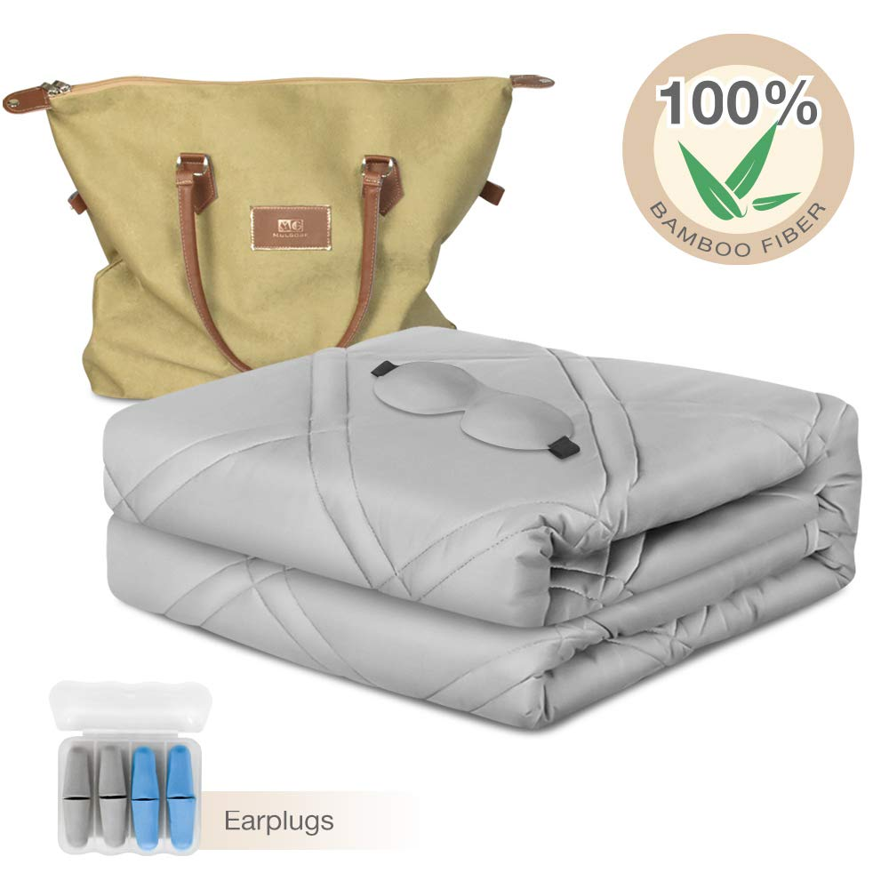 MG MULGORE Cooling Weighted Blanket 100% Natural Bamboo Viscose Premium Heavy Blanket with Glass Beads for Adults, Kids, Women, Men, Youths, 15 lbs, 48''x72'', Grey