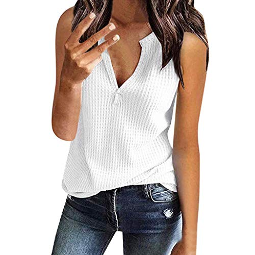 (Tank Tops for Womens Fashion V Neck Shirts Sleeveless Solid Waffle Knit Loose Fitting Tee Tops)