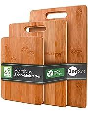 Loco Bird massieve bamboe snijplanken set van 3-33x22 / 28x22 / 15x22cm - Houten keuken snijplank - Houten antibacteriële snijplank