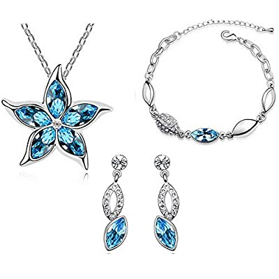 HSG Fashion Crystal Star Necklace Bracelet & Earrings Ocean Blue Five Leaves Flower Crystal Jewelry Sets