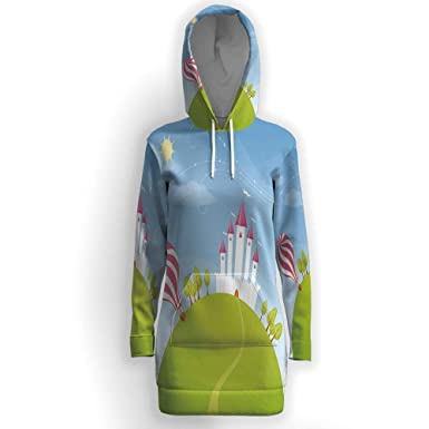6267ff3913a Image Unavailable. Image not available for. Color  Women s Thickening Long  Fleece Sweatshirt String Hoodie Dress ...