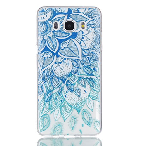Samsung Galaxy J710 (2016)Case,eléfono móvil, Ultra delgado antideslizante absorción de golpes Flexible suave TPU carcasa de silicona resistente a los arañazos a prueba de golpes ultra slim case, para Hojas azules