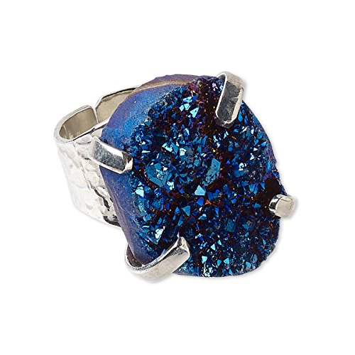 DragonWeave Adjustable Silver Plated Electric Blue Druzy Agate Gemstone Cocktail Ring