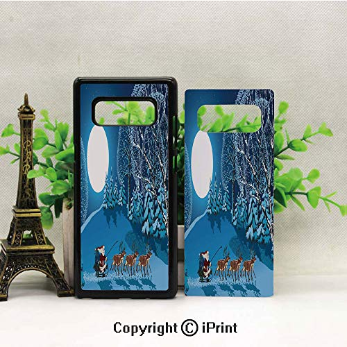 (Case for Galaxy note8,Santa in Sleigh a Holy Night with Full Moon Snowy Winter Xmas Theme Shockproof Series TPU Bumper Protective Case for Samsung Galaxy note8, 2017 Release Print Design Navy Blue)