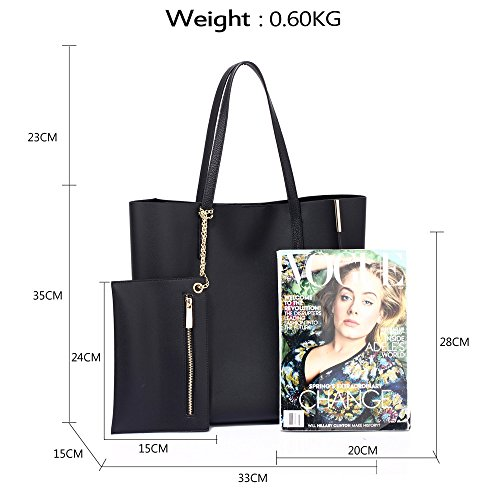 Handbags With 1 Leather Ladies Womens Design Shoulder Black Celebrity Faux New Tote Removable Style Pouch Large Bags 5RRxAw