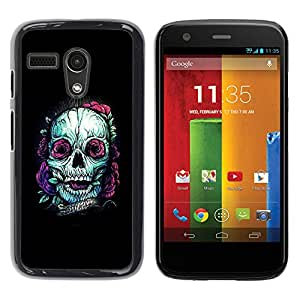Shell-Star Arte & diseño plástico duro Fundas Cover Cubre Hard Case Cover para Motorola Moto G1 / X1032 ( Teal Skull Purple Nature Tattoo Ink Black )