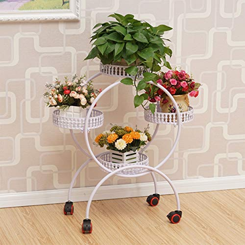 Ping Bu Qing Yun Multilayer Pulley Wrought Iron Flower Pot European-Style Assembly Corner Living Room Mobile Shelves Balcony Simple Garden Bonsai Flower Stand (Color : D Ordinary Round)